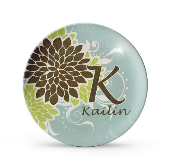 Personalized Plate, Personalized Melamine Plate, Floral Mums Monogram