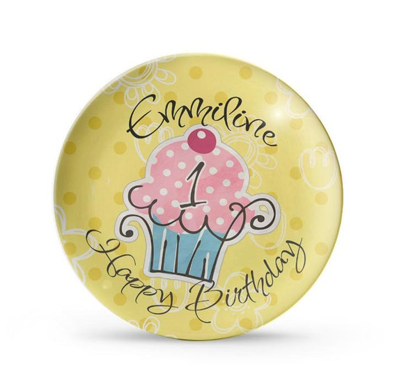 Personalized Plate, Cupcake Birthday Plate, Personalized Childrens Melamine Dinner Plate