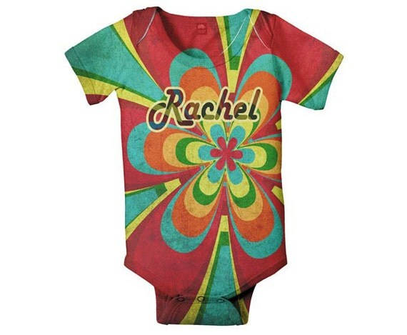 Rainbow Flower Bodysuit, Personalized Baby Girl's Snapsuit