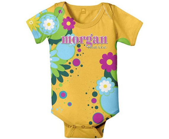 Personalized Baby Bodysuit, Orange Floral Snapsuit, Infant Clothing