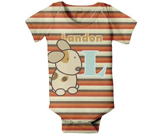 Baby Boy Bodysuit, Puppy Stripes Personalized, Monogrammed Name One Piece Baby Clothing, Onepiece