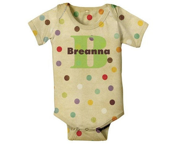 Monogram Baby Bodysuit, Polka Dot Personalized Infant One-Piece