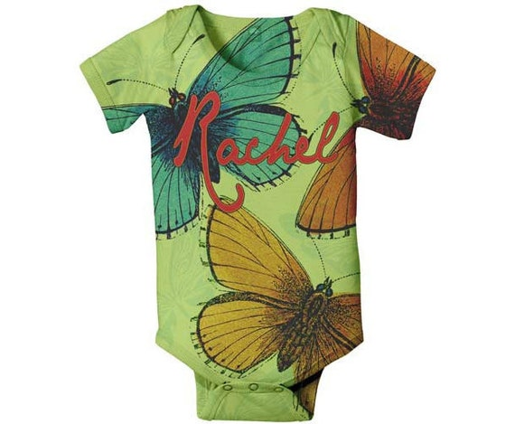 Personalized Baby Bodysuits, Butterfly in Green Custom One-Piece
