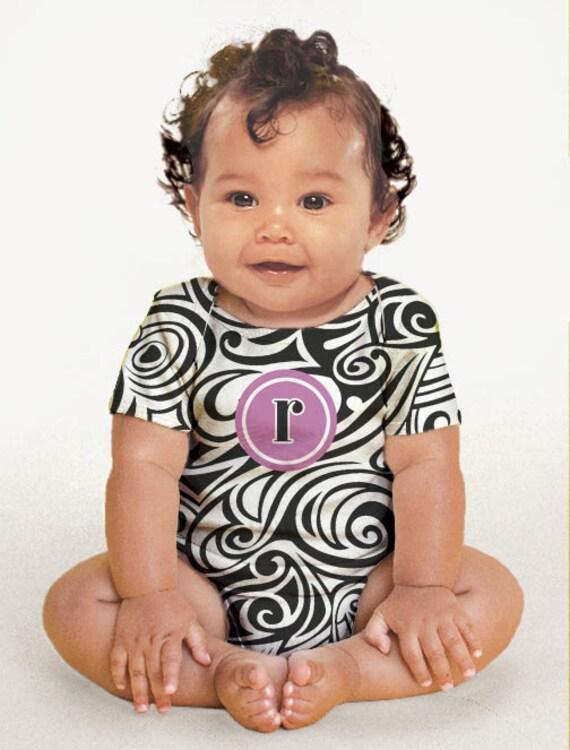 Monogrammed Bodysuit, Girl's Swirly Zebra Personalized One-Piece