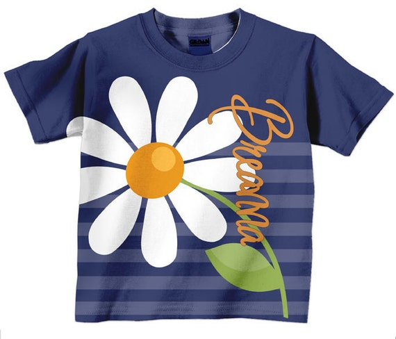 Girls Daisy T-Shirt, Personalized Floral Shirt, Children's Clothing, Girls Personalized Shirt, Girls Top