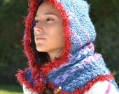 Super  Chuncky hand  Woven Wool  Cowl with Hood / neck warmer / scarf women/ winter