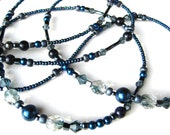 SIMPLY MIDNIGHT- Glass Beaded Id Lanyard and Badge Holder- Midnight Blue Pearls, Blue Sand Gemstones, Hematite beads, and Crystals (Long)