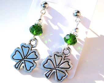 ST. PATRICK's CLOVERS- Charming and Festive Post Earrings with Emerald Crystals