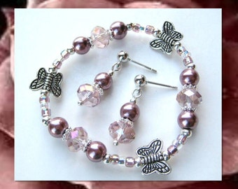 ROSE BUTTERFLY BEAUTY- A Lovely Flower Girl Set or Perfect Gift- Girls 4-7 yrs old