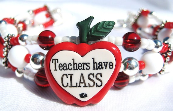 TEACHERS HAVE CLASS- Red and White Glass Beaded and Silver Plated Stretch Bracelet with Toggle Clasp