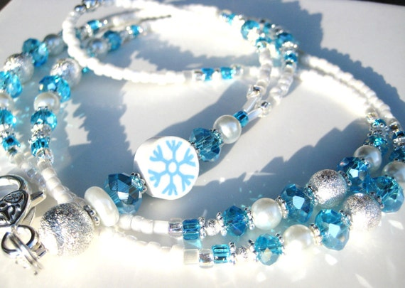 WINTER ICE- Glass Beaded ID Lanyard and Badge Holder- A beautiful seasonal lanyard for winter with Swarovski Crystals