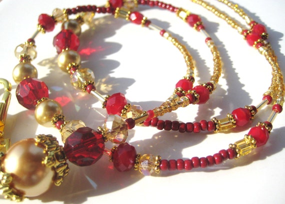 GOLDEN GLORY- Resplendent Ruby Red and Golden Pearl Glass Beaded Id Lanyard Badge Holder- With Magnetic Clasp