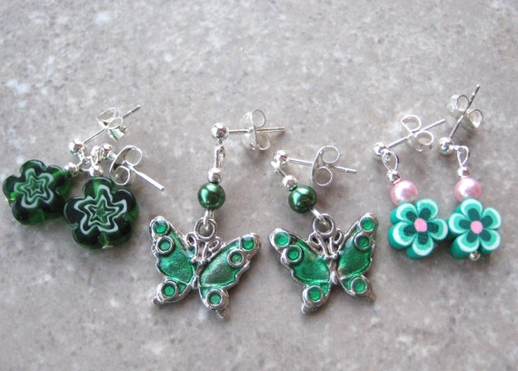 GIRLIE GREEN- Girl's Post Earring Set-  Millefiore Beads, Pearls, Polymer Clay Flowers with Butterfly Beads