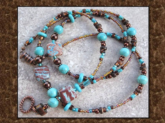 SOUTHWEST ELEGANCE- Turquoise and Glass Beaded Id Lanyard Badge Holder- Turquoise stones, Hearts, and Peace Signs (Magnetic Clasp)