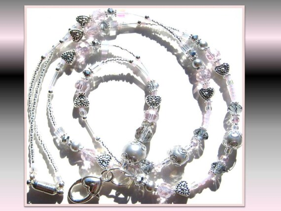 PINK HEART ELEGANCE-  Stunning Silver Pearl, Heart, and Glass Beaded Id Lanyards with Swarovski Crystals (Magnetic Clasp)