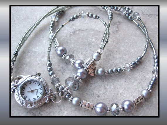 SILVER MOONLIGHT TIME- Glass Beaded Id Lanyard- Swarovski Crystals, Silver Pearls, Tibetan Silver, and Hematite Beads (Magnetic Clasp)