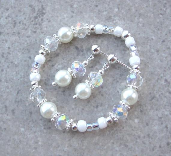 FLOWER GIRL- White Pearl Flower Girl Bracelet and Earrings Set - Sized for a 2-4 yr old.