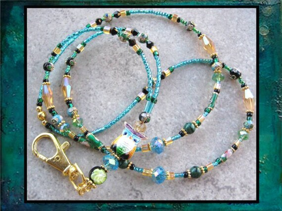 ELEGANT OWL- Glass Beaded ID Lanyard Id Badge Holder- Cloisonne Owl and Crystal Beads in Gold, Aqua Blue, Green, and Black