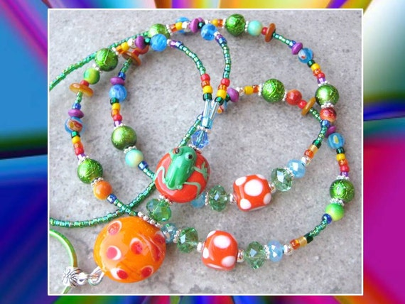 SUMMER FROG- Glass Beaded Id Lanyard Badge Holder- Lampwork Beads, Millefiore Beads, and Swarovski Crystals