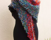 Multicolor Knit Wrap--Shawl of Many Colors
