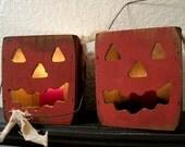 Pumpkin Candle Holder / Light Box / Primitive Wooden Boxes