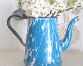 1940 Vintage Turquoise and White Swirl Enamelware Teapot - Enamel - Graniteware - Rare Color and Pattern
