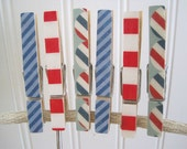 Set of 6 Red, White, and Blue Clothes Pins - Patriotic - Stripes - Vintage Wood - Scrapbook Paper