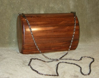 Clutch Bag Walnut Wood with Leather Interior Lining