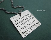 Bible Verse Hand Stamped Square Necklace Psalm 63:3
