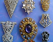 RESERVE 50% Off SEVEN Unique Vintage Shoe Clip or Neck Brooch Collection SALE
