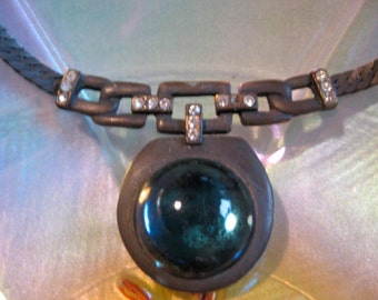 SALE 50% OFF Vintage Gun Metal & Blue Glass Rhinestone Choker