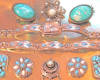 50% Off SIXTEEN Piece Faux Turquoise Jewelry Collection See All Images