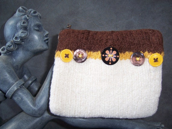 """White, Gold and Brown """"Button"""" Felted Itty Bitty Bag"""