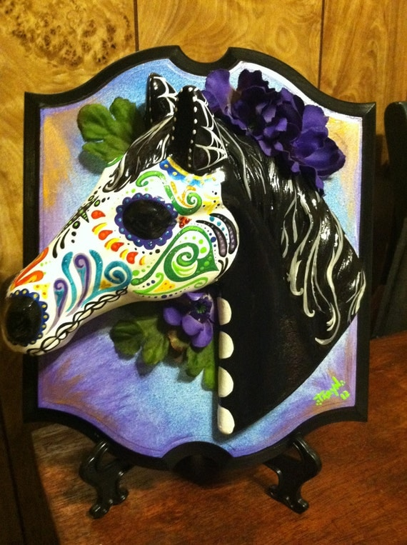 Reserved Dia De Los Muertos Horse Head Mounted On Wooden