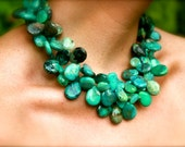 Double wrap luxury of blue/green turquiose and faceted chalcedony- One of a Kind