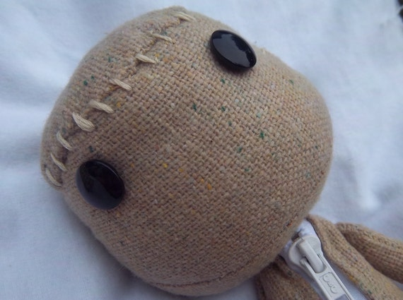 Little Big Planet Inspired Sackboy Cotton Blend Fabric Sackdoll with Zipper Handstitched LBP