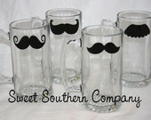 4 Mustache Beer Mugs, The 'Stache Glass