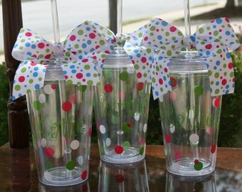 10 Personalized Polka Dot Acrylic Tumblers with Lid and Straw