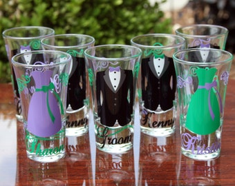 8 Personalized Bridesmaid and Groomsmen Shot Glasses