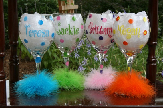 4 Personalized Bride and Bridesmaids Polka Dot Wine Glasses