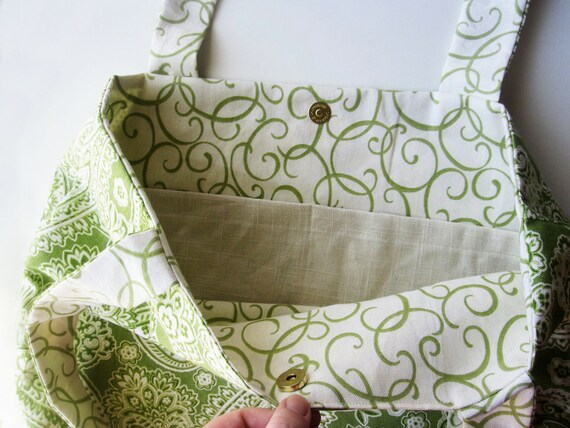 Tote Bag Green and Creme