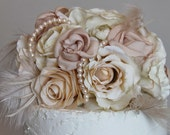 Romantic Creamy Ivory & Pink Champagne Wedding Cake Topper: Custom Order
