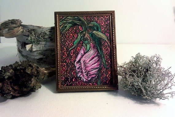 Small Painting Pink Lady Slipper Orchid Flower- Original woodland art- moccassin flower cypripedium Acaule in Vintage Gold Frame