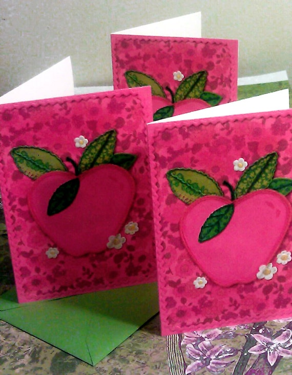 Vintage Apple Cards from Hallmark BLANK INSIDE set of 5  stationery Magenta pink and grass green envelopes bright neon teacher mom gift