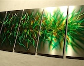 """Metal Wall Art Abstract Modern Sculpture Original Large  Contemporary Painting textured Decor Fine Art by Nider 64""""W x 24""""H - Forest Chaos"""