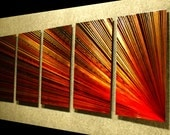 "Metal Wall Art Abstract Painting a Sculpture by Nider the Internationally Acclaimed Artist of Contemporary Decor 64""W x 24""H - Pulsar Right"