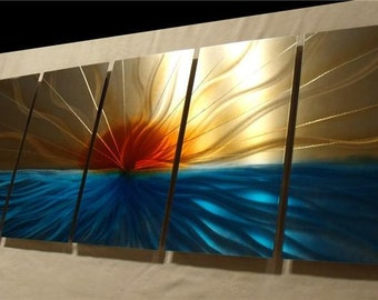 """Original Metal Wall Art Sculpture by Nider a Internationally Acclaimed Artist of Contemporary Decor 64""""W x 24""""H - Sunset Abstract"""