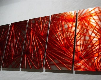 "Metal Wall Art Sculpture Abstract Original Contemporary Painting Decor Fine Art by Nider Large 64""W x 24""H - Exuberance in Red"