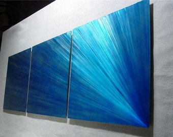 "Metal Wall Art Abstract Painting a Sculpture by Nider the Internationally Acclaimed Artist of Contemporary Decor - 76""W x 24""H - Comet"