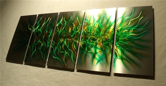 "Metal Wall Art Abstract Modern Sculpture Original Large  Contemporary Painting textured Decor Fine Art by Nider 64""W x 24""H - Forest Chaos"
